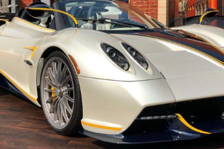"The Huayra Roadster Gyrfalcon that Pagani Automobili introduced at ""The Quail - A Motorsport Gathering."""