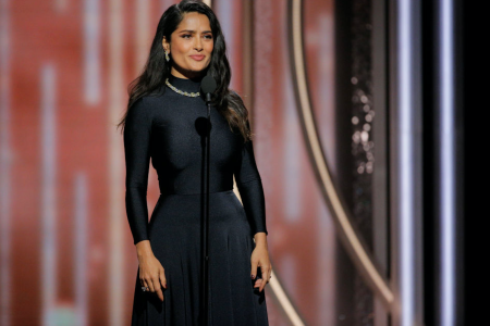 BEVERLY HILLS, CA - JANUARY 07:  In this handout photo provided by NBCUniversal,  Salma Hayek Pinault speaks onstage during the 75th Annual Golden Globe Awards at The Beverly Hilton Hotel on January 7, 2018 in Beverly Hills, California.  (Photo by Paul Drinkwater/NBCUniversal via Getty Images)
