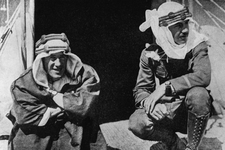 British soldier, adventurer and author Thomas Edward Lawrence (1888 - 1935), better known as Lawrence of Arabia (left), with American Lowell Thomas, one of the first journalists to publicize Lawrence's exploits during the Arab Revolt, circa 1925. (Hulton Archive/Getty Images)