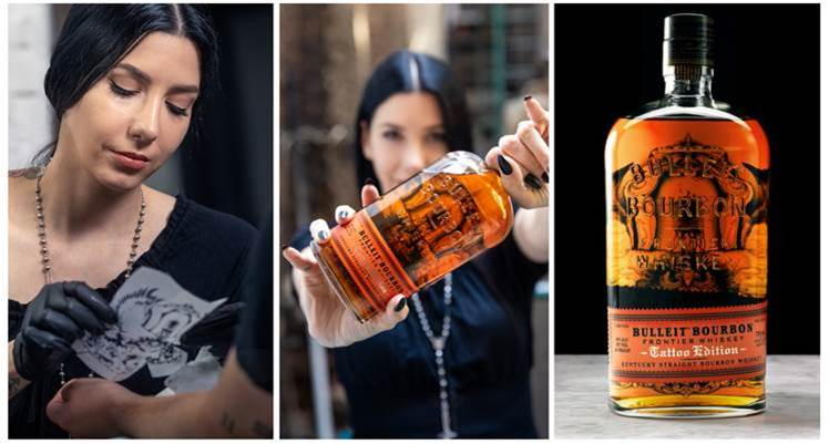Jess Mascetti and one pf the Bulleit Tattoo Edition bottles she just designed. (Bulleit)