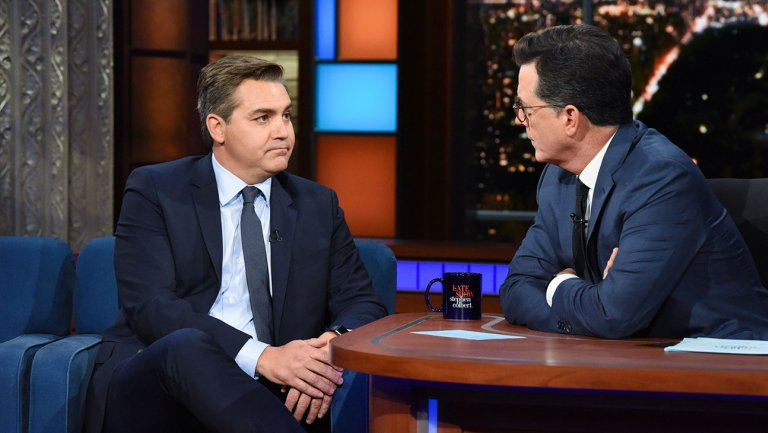 CNN's Jim Acosta discusses the news media's relationship with President Trump on Stephen Colbert's late-night talk show. (CBS)