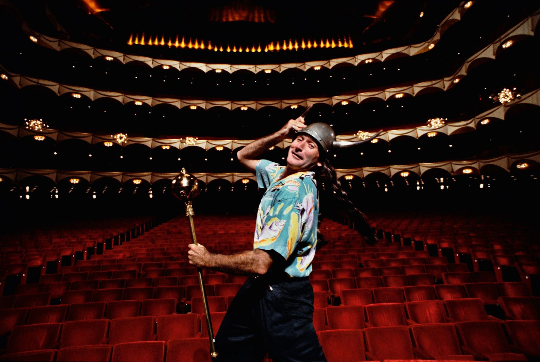 Robin Williams on stage at the Metropolitan Opera House during a publicity shoot, New York, 1986. (Arthur Grace)