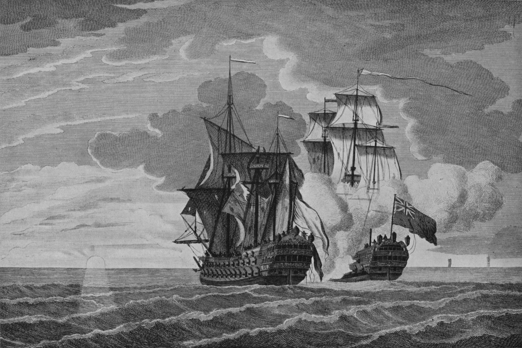 The 'Nottingham' and the 'Mars'' (c1750), from 'Old Naval Prints,' by Charles N Robinson & Geoffrey Holme (The Studio Limited, London), 1924. HMS 'Nottingham' captured the French warship 'Mars,' which was returning to French from the unsuccessful Duc d'Anville expedition to North America, on 11 October 1746. (Photo by Print Collector/Getty Images)
