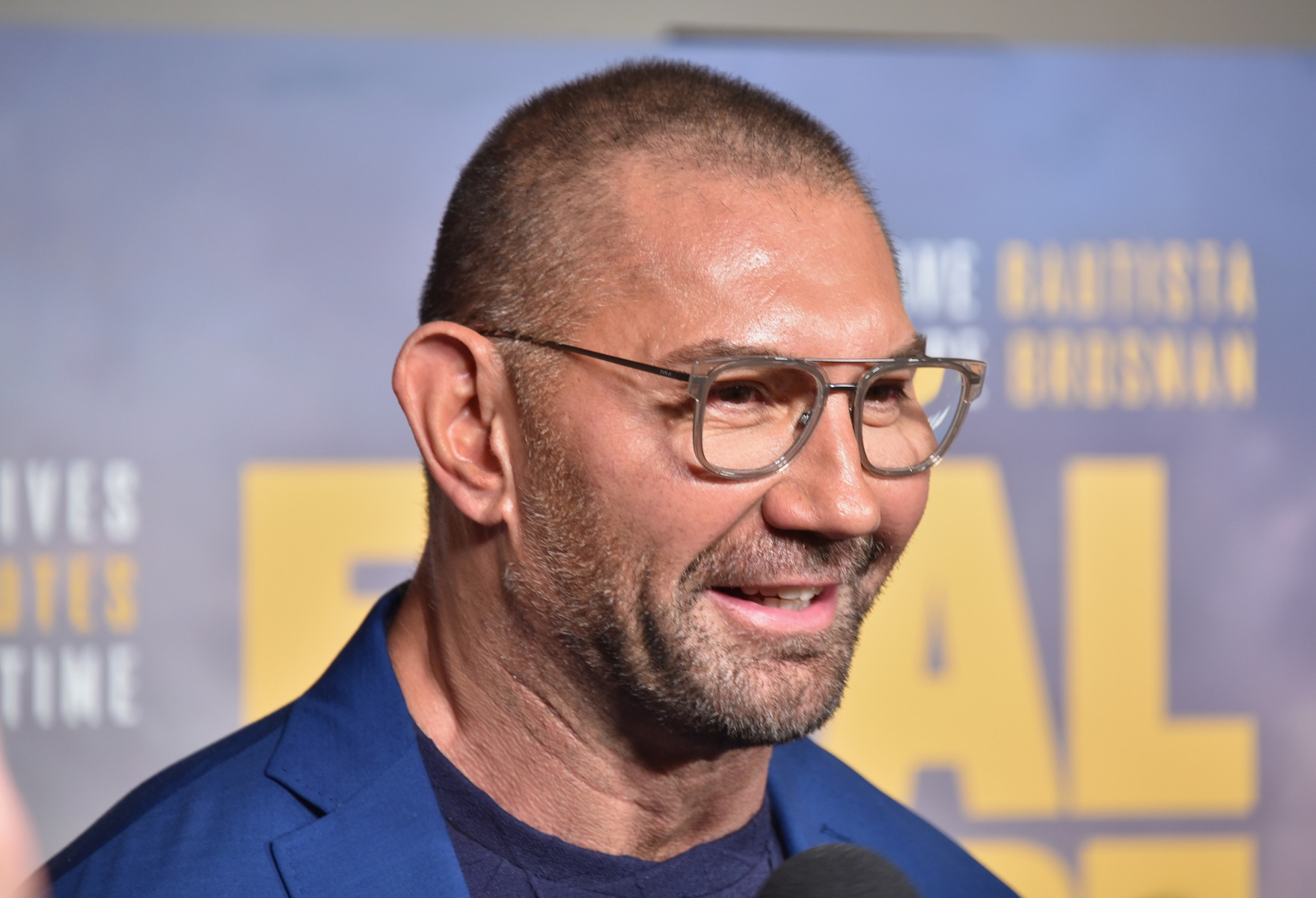 """Dave Bautista attends the World Premiere of """"Final Score"""" at The Ham Yard Hotel on August 30, 2018 in London, England.  (Photo by David M. Benett/Dave Benett/WireImage)"""