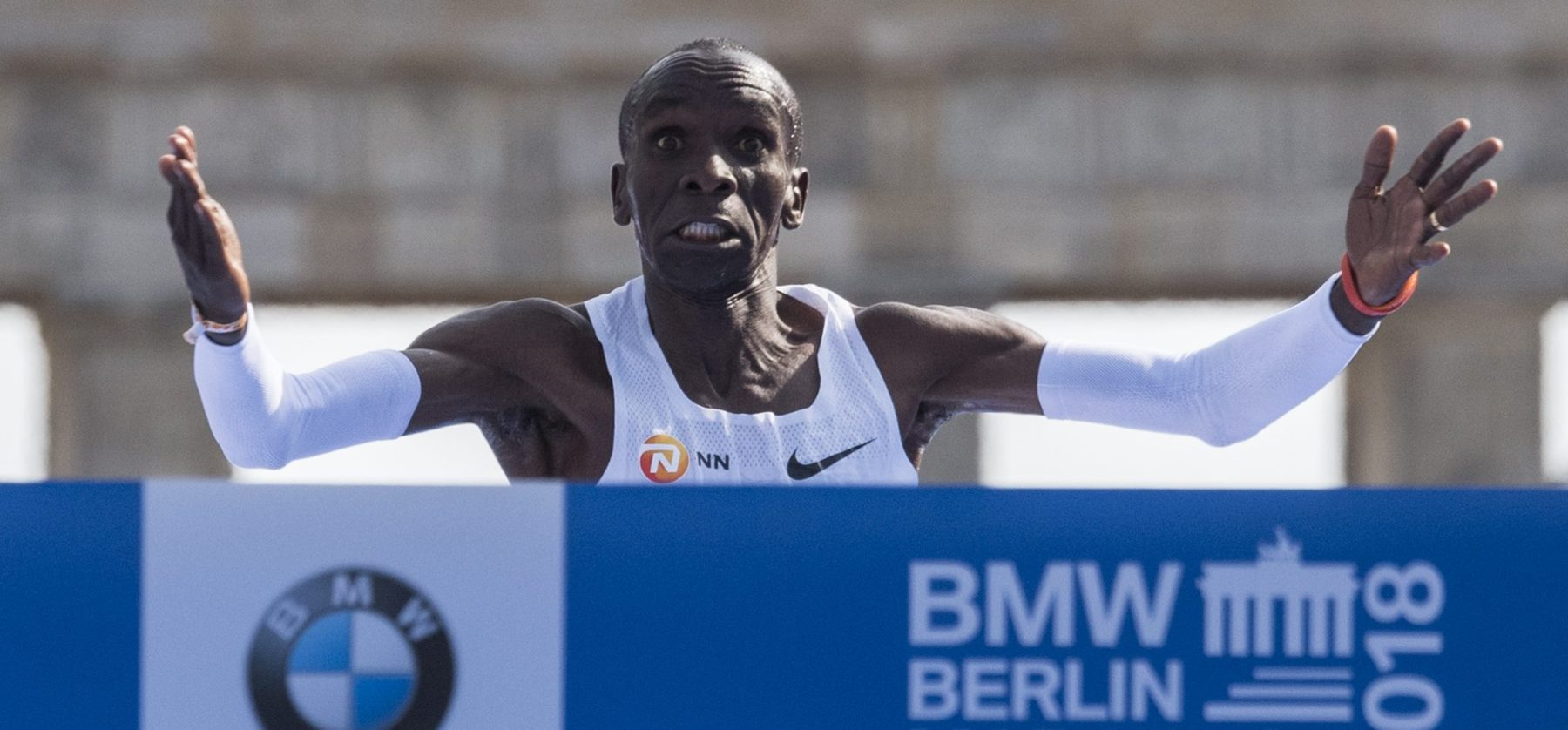 Kenya's Eliud Kipchoge sets a new marathon world record of 2:01.39 on September 16, 2018 in Berlin. (Photo credit: JOHN MACDOUGALL/AFP/Getty Images)