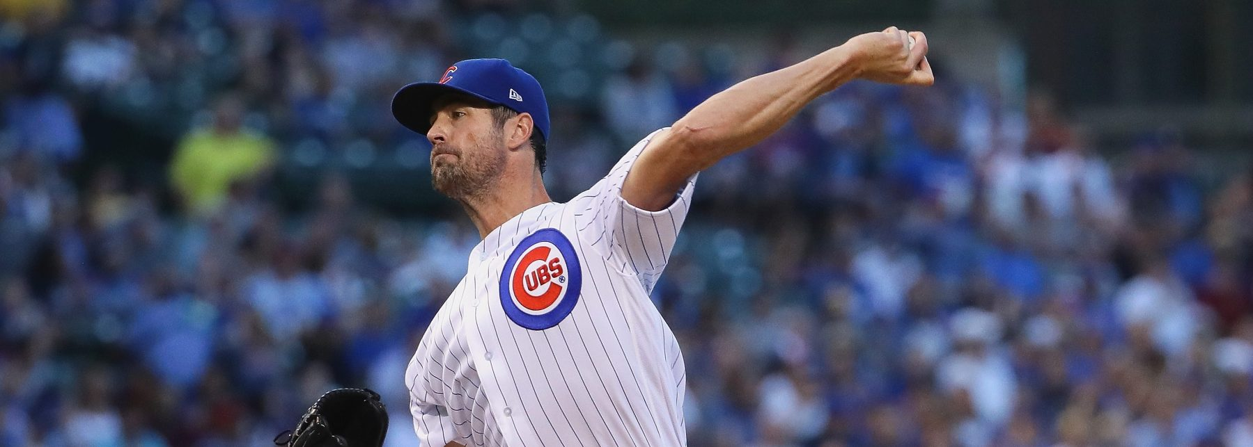 Cole Hamels #35 of the Chicago Cubs pitches on his way to a complete game win over the Cincinnati Reds at Wrigley Field on August 23, 2018 in Chicago, Illinois. (Photo by Jonathan Daniel/Getty Images)