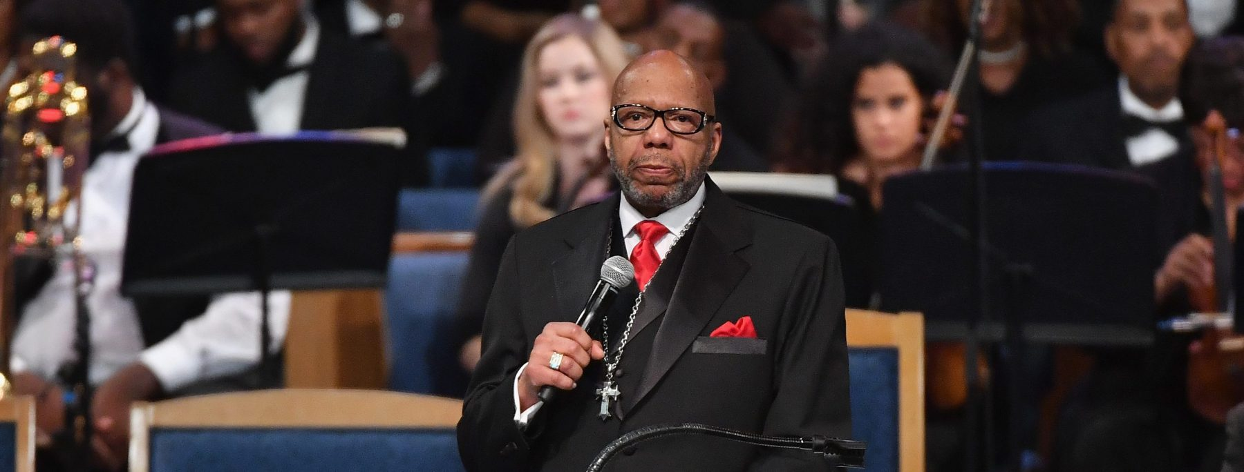 Rev. Jasper Williams Jr. gives eulogy at Aretha Franklin's funeral at Greater Grace Temple on August 31, 2018 in Detroit, Michigan. (Photo by Angela Weiss / AFP)