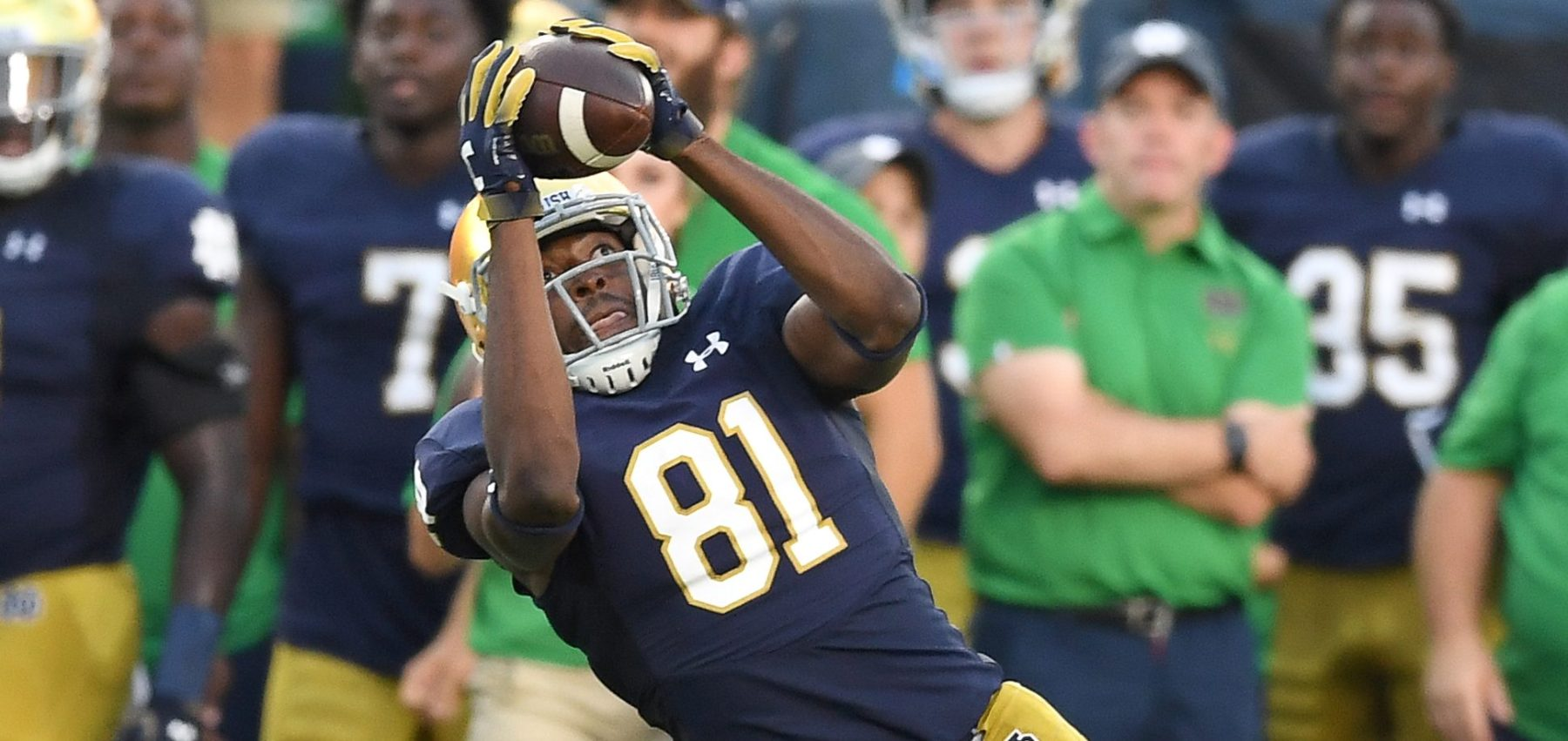 Notre Dame Fighting Irish wide receiver Miles Boykin (81) beats Michigan Wolverines defensive back Lavert Hill (24) to catch the football on September 1, 2018 at Notre Dame Stadium, in South Bend, Indiana. (Photo by Robin Alam/Icon Sportswire via Getty Images)