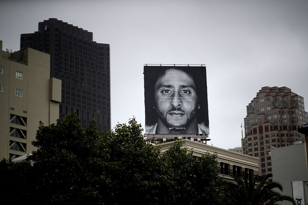 SAN FRANCISCO, CA - SEPTEMBER 05:  A billboard featuring former San Francisco 49ers quaterback Colin Kaepernick is displayed on the roof of the Nike Store on September 5, 2018 in San Francisco, California. (Photo by Justin Sullivan/Getty Images)