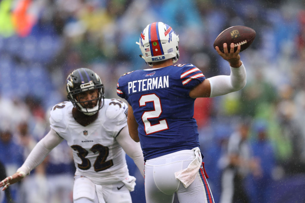 Nathan Peterman #2 of the Buffalo Bills passes in the third quarter against the Baltimore Ravens at M&T Bank Stadium on September 9, 2018 in Baltimore, Maryland. (Photo by Patrick Smith/Getty Images)