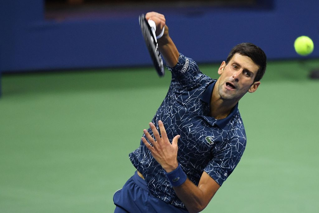 NEW YORK, USA - SEPTEMBER 9: Novak Djokovic of Serbia competes against Juan Martin Del Potro (not seen) of Argentina during US Open 2018 men's final match in New York, United States on September 9, 2018. (Photo by Mohammed Elshamy/Anadolu Agency/Getty Images)