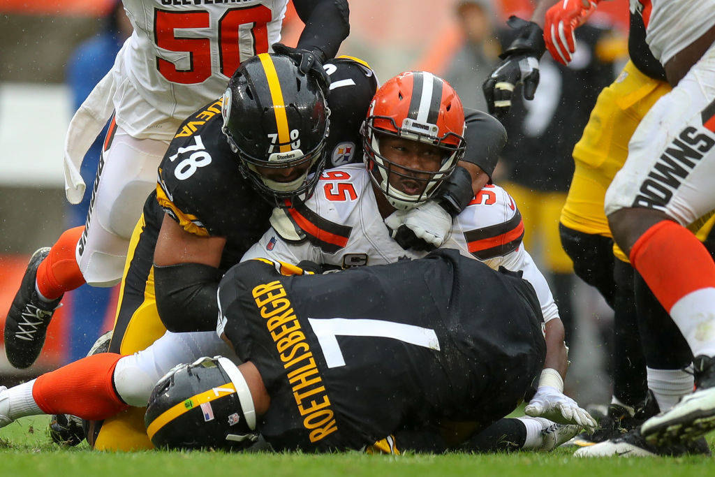 CLEVELAND, OH - SEPTEMBER 09: Pittsburgh Steelers quarterback Ben Roethlisberger (7) is sacked by Cleveland Browns defensive end Myles Garrett (95) who beat Pittsburgh Steelers offensive tackle Alejandro Villanueva (78) on the play during the second quarter of the National Football League game between the Pittsburgh Steelers and Cleveland Browns on September 9, 2018, at FirstEnergy Stadium in Cleveland, OH. (Photo by Frank Jansky/Icon Sportswire via Getty Images)