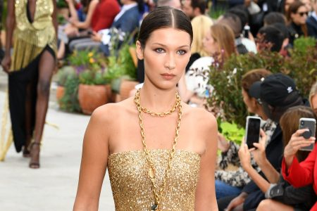 NEW YORK, NY - SEPTEMBER 11:  A Bella Hadid walks the runway for Oscar De La Renta during New York Fashion Week: The Shows at Spring Studios Terrace on September 11, 2018 in New York City.  (Photo by Slaven Vlasic/Getty Images for NYFW: The Shows)
