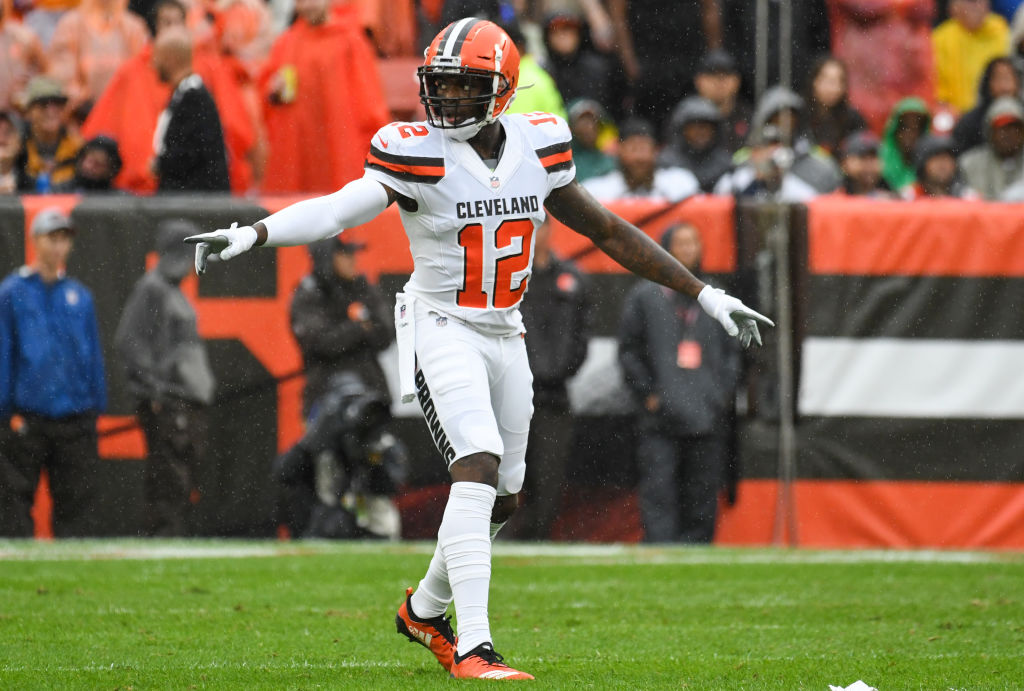 Wide receiver Josh Gordon #12 of the Cleveland Browns gestures toward the sideline in the first quarter of a game against the Pittsburgh Steelers on September 9, 2018 at FirstEnergy Stadium in Cleveland, Ohio. The game ended in a tie 21-21. (Photo by: 2018 Nick Cammett/Diamond Images/Getty Images)