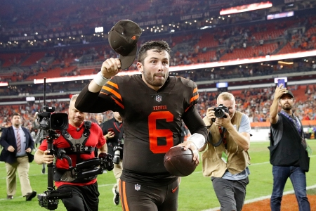 CLEVELAND, OH - SEPTEMBER 20:  Baker Mayfield #6 of the Cleveland Browns runs off the field after a 21-17 win over the New York Jets at FirstEnergy Stadium on September 20, 2018 in Cleveland, Ohio. (Photo by Joe Robbins/Getty Images)