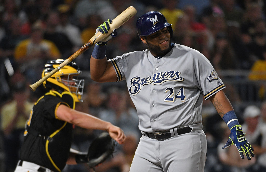 PITTSBURGH, PA - SEPTEMBER 21: Jesus Aguilar #24 of the Milwaukee Brewers reacts after striking out in the fourth inning during the game against the Pittsburgh Pirates at PNC Park on September 21, 2018 in Pittsburgh, Pennsylvania. (Photo by Justin Berl/Getty Images)