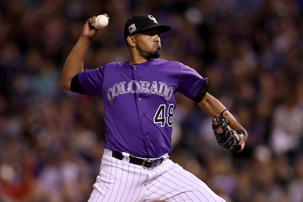 DENVER, CO - SEPTEMBER 26:  Starting pitcher German Marquez #48 of the Colorado Rockies throws in the fourth inning against the Philadelphia Phillies at Coors Field on September 26, 2018 in Denver, Colorado.  (Photo by Matthew Stockman/Getty Images)