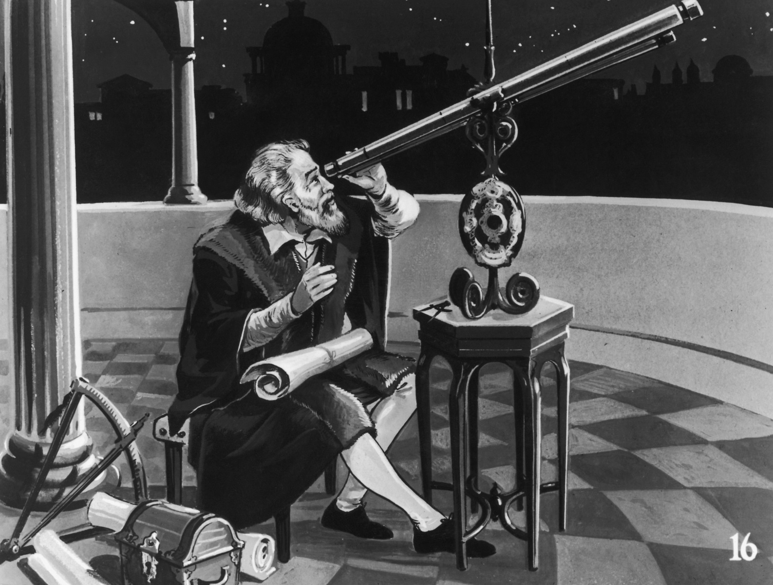 Italian astronomer and physicist, Galileo Galilei (1564 - 1642) using a telescope, circa 1620. A recently rediscovered letter sent by Galileo fills in an important part of the history of his greatest scientific revelation. (Photo by Hulton Archive/Getty Images)