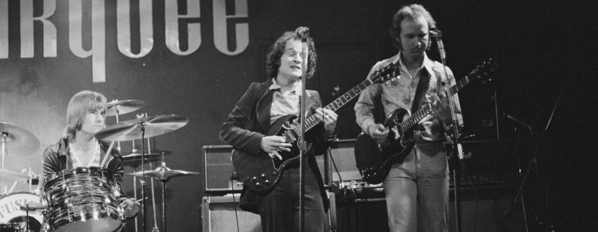 The Jeremy Spencer Band performon stage at the Marquee Club, London, 1978. Jeremy Spencer was in the original line up of Fleetwood Mac from 1967 - 1971. (Photo by Erica Echenberg/Redferns)