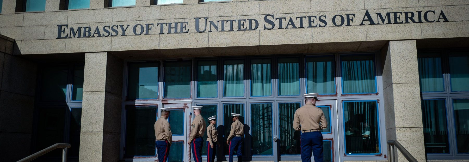 US Marines stand outside the Embassy of the United State of America in Havana, on February 21, 2018. (ADALBERTO ROQUE/AFP/Getty Images)