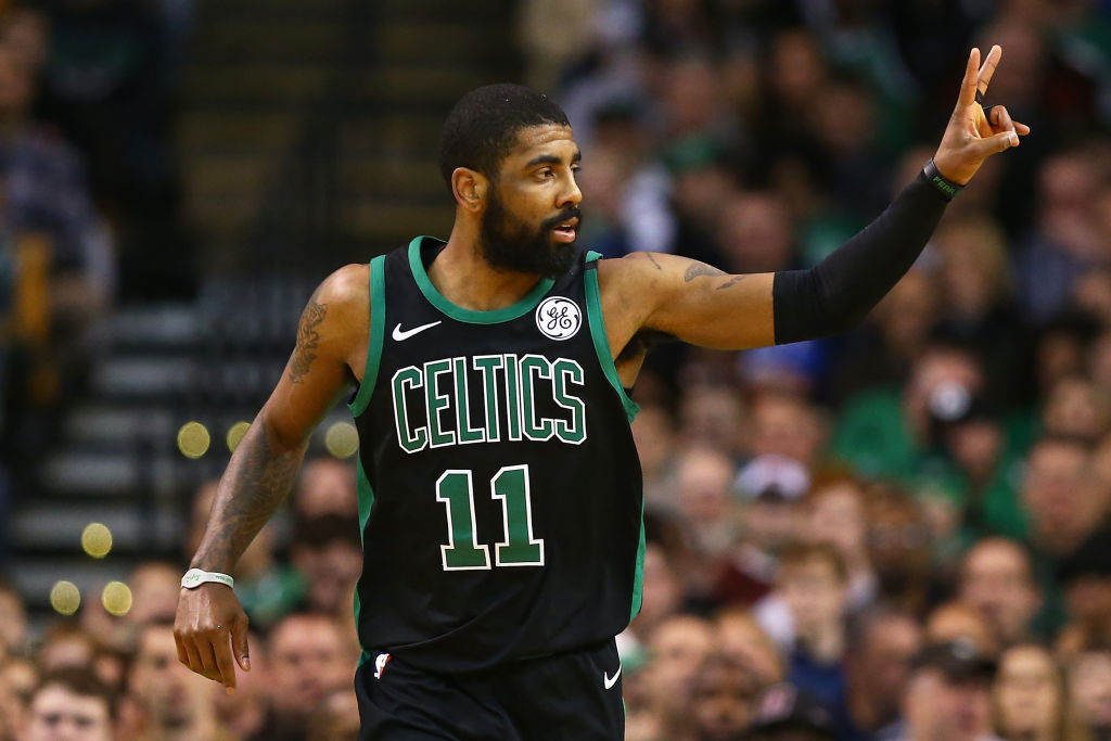 BOSTON, MA - MARCH 11:  Kyrie Irving #11 of the Boston Celtics gestures during a game against the Indiana Pacers at TD Garden on March 11, 2018 in Boston, Massachusetts. (Photo by Adam Glanzman/Getty Images)