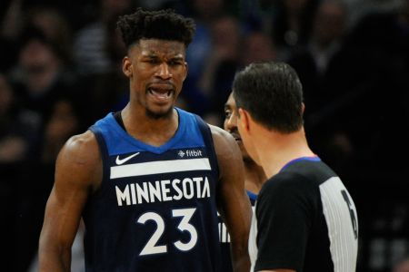 MINNEAPOLIS, MN - APRIL 23: Jimmy Butler #23 of the Minnesota Timberwolves reacts to being called for a foul against the Houston Rockets during the third quarter in Game Four of Round One of the 2018 NBA Playoffs on April 23, 2018 at the Target Center in Minneapolis, Minnesota. (Photo by Hannah Foslien/Getty Images)