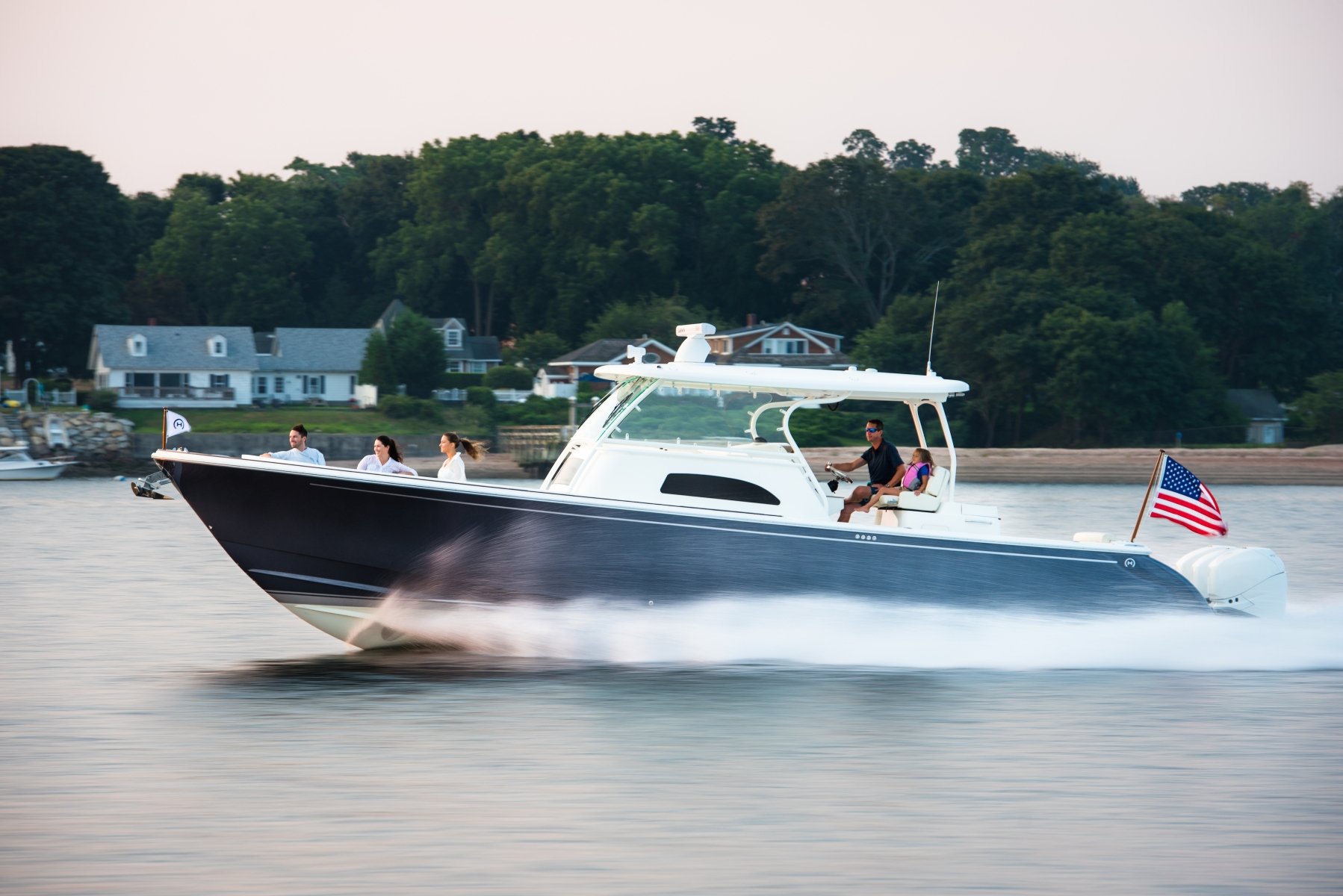 The high-performance Hinckley 40C, the initial model from the company's new Sport Boat line, boasts a 63mph top speed and a sticker price of $735,000. (Photo credit: courtesy of Hinckley)