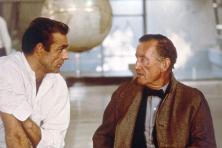 """Sean Connery and 007 creator Ian Fleming on the set of the James Bond film """"Dr No."""" (Sunset Boulevard/Corbis via Getty Images)"""