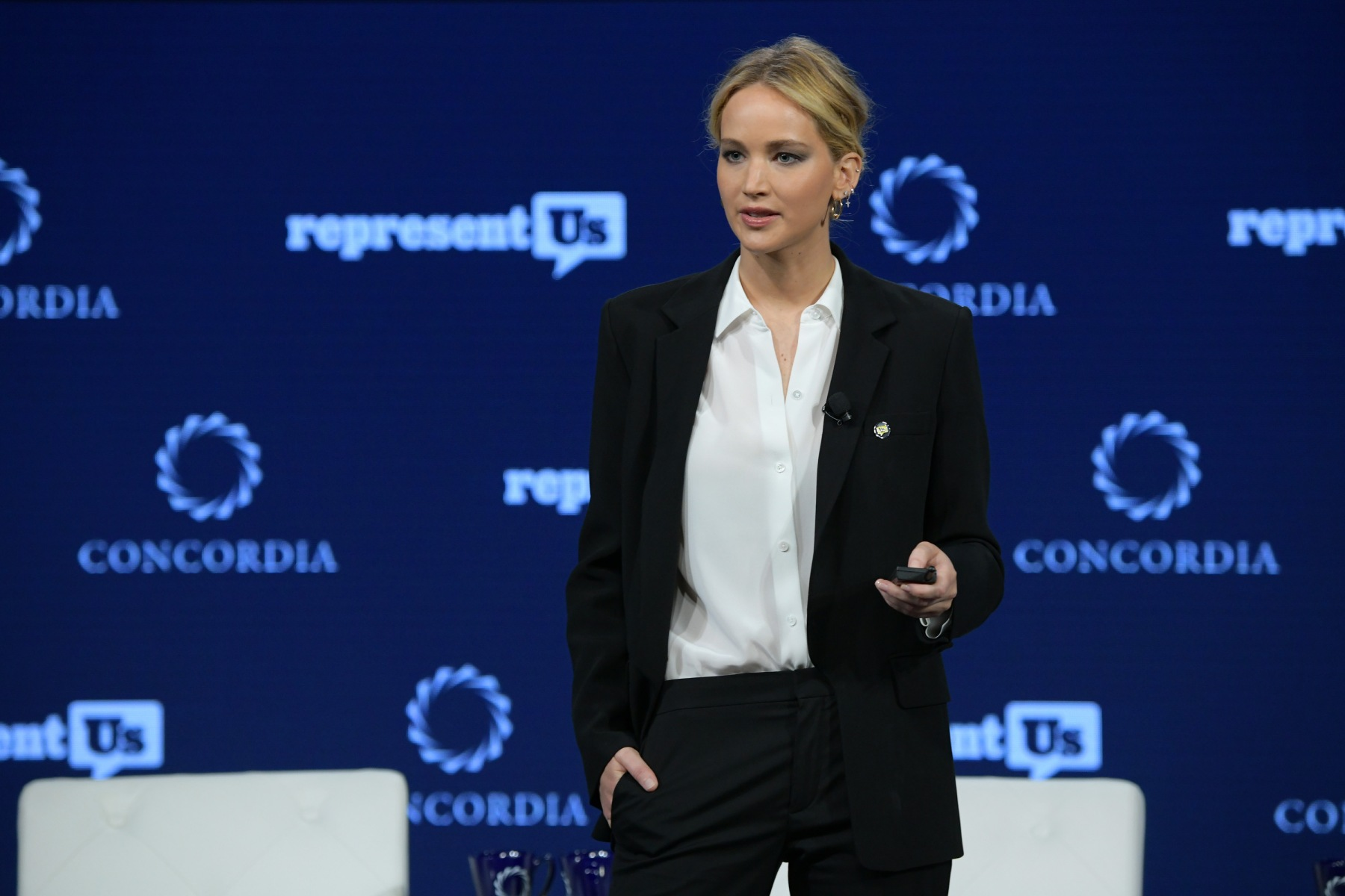 Actor and Board Member of RepresentUs Jennifer Lawrence speaks onstage during the 2018 Concordia Annual Summit - Day 2 at Grand Hyatt New York on September 25, 2018 in New York City.  Lawrence has recently been working with Represent.Us during her year-long sabbatical from acting. (Photo by Leigh Vogel/Getty Images for Concordia Summit)