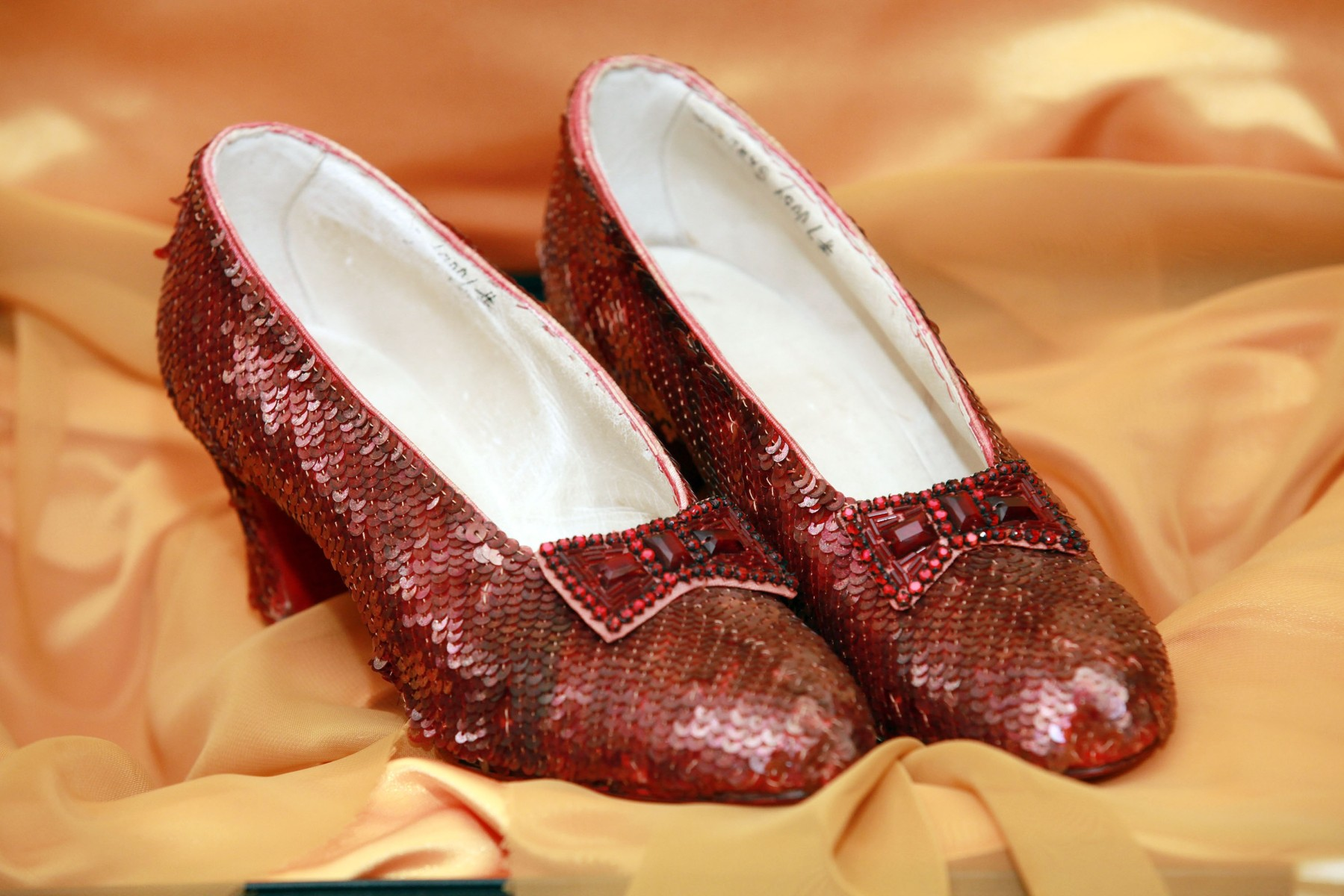'The Wizard of Oz' Ruby Red Slippers worn by Judy Garland in 1939 are displayed at a viewing at the Plaza Athenee on December 5, 2011 in New York City. 'The Wizard of Oz' Ruby Red slippers are a women's size 5 and appraised at $3 million dollars. (Photo by Astrid Stawiarz/Getty Images)