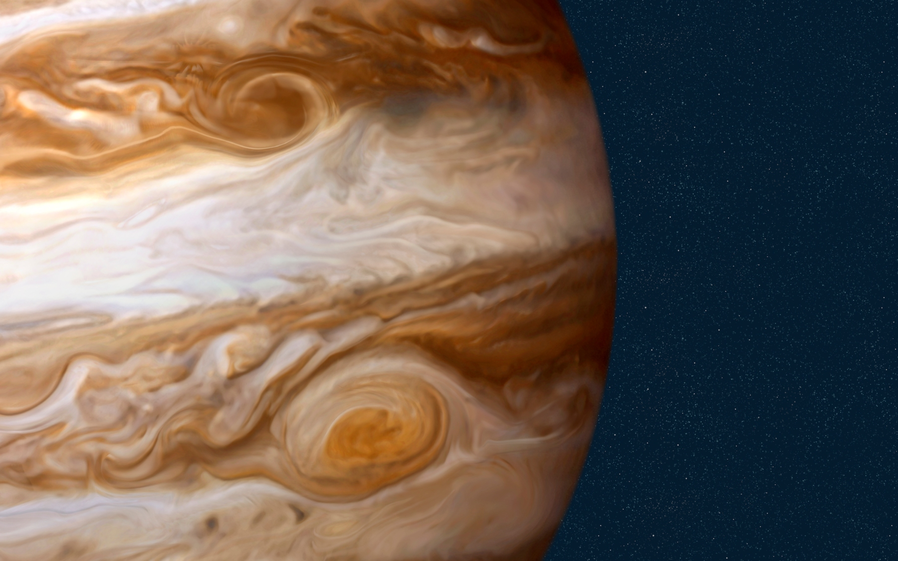 Jupiter, The largest planet in the solar system is 1,400 times the size of Earth, and its mass is 2.5 times that of all of the other planets combined. Jupiter could almost have become a star, since its elements are similar to the SunÍs: 90% hydrogen and 10% helium, with traces of methane, water, ammonia, and rocky dust. (Photo by: QAI Publishing/UIG via Getty Images)