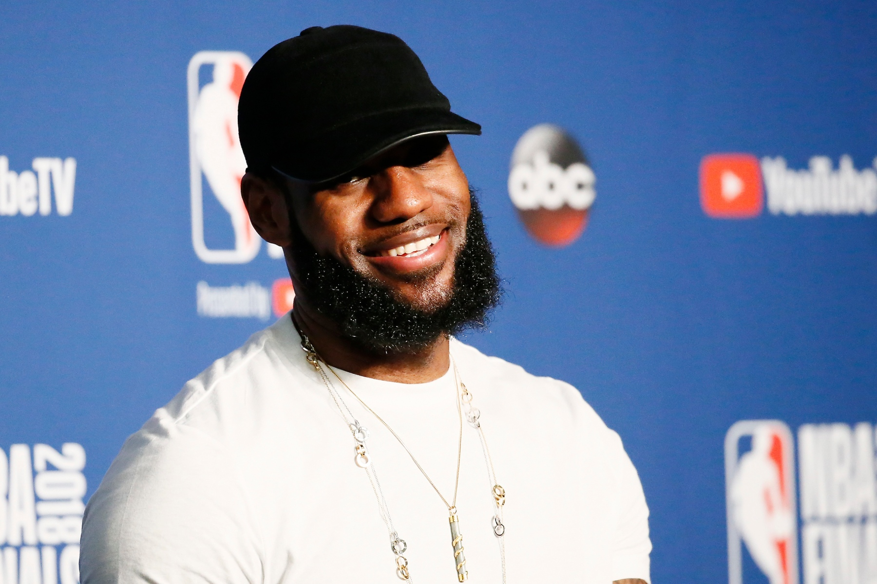 LeBron James #23 of the Cleveland Cavaliers talks to the media after being defeated by the Golden State Warriors in Game Four of the 2018 NBA Finals won 108-85 by the Golden State Warriors over the Cleveland Cavaliers at the Quicken Loans Arena on June 6, 2018 in Cleveland, Ohio. Copyright 2018 NBAE (Photo by Chris Elise/NBAE via Getty Images)