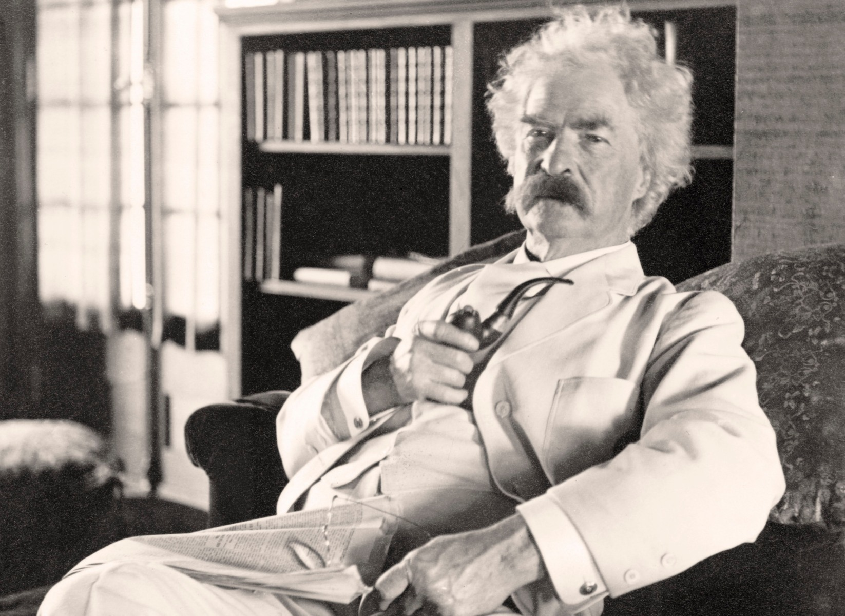 Samuel Langhorne Clemens 1835 to 1910 known by pen name Mark Twain American humorist, satirist, writer, and lecturer From photograph taken in his old age (Photo by Universal History Archive/Getty Images)