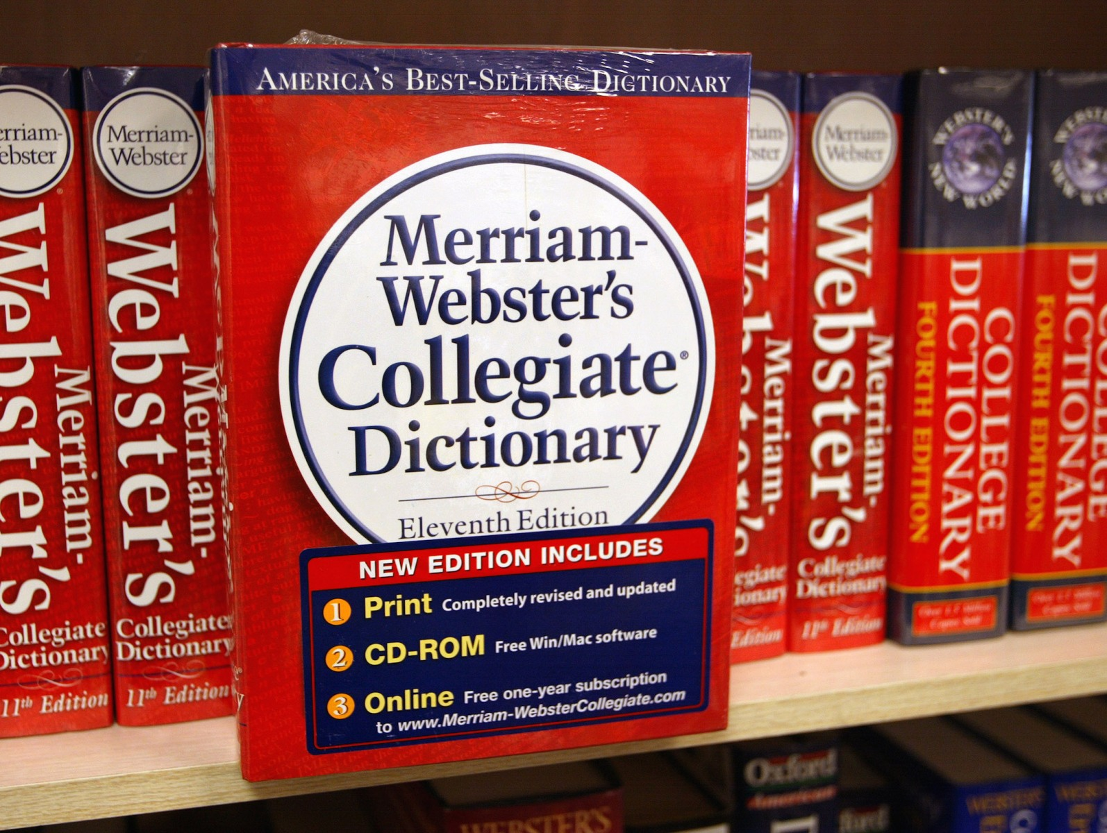 A Merriam-Webster's Collegiate Dictionary is displayed in a bookstore November 10, 2003 in Niles, Illinois. (Photo by Tim Boyle/Getty Images)