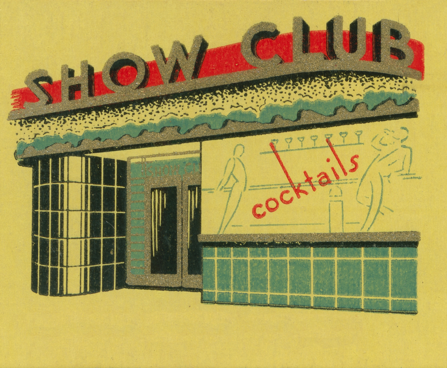 Matchbook image of exterior tiled nightclub. Ad for Show Club. Italian nightclub promotor Maurizio Zanfanti died this week while reportedly having sex. Photo by Jim Heimann Collection/Getty Images)
