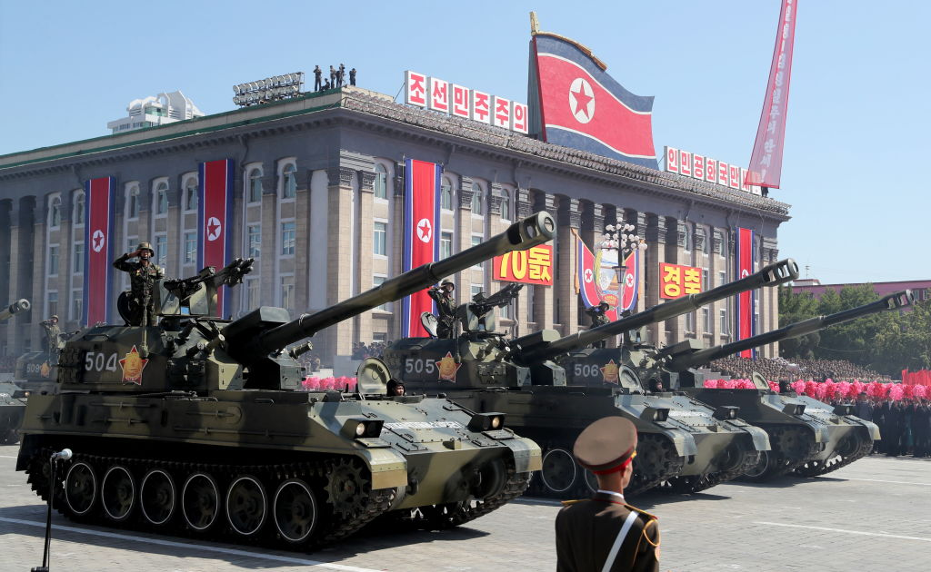 Artillery units marking the 70th anniversary of the foundation of North Korea in a parade that did not feature any long-rang ballistic missiles. (Photo by Alexander DemianchukTASS via Getty Images)