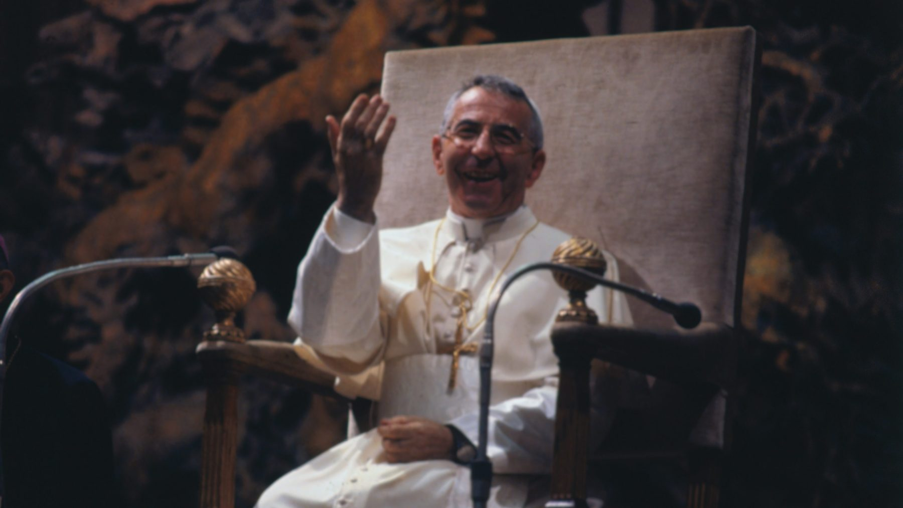 (Original Caption) Vatican City: Newly elected Pope John Paul I waves to crowd in St. Peter's Square, from the window of his private study in the Apostolic Palace after blessing faithful for the first time after his election as 263rd Pontiff. (Getty Images)
