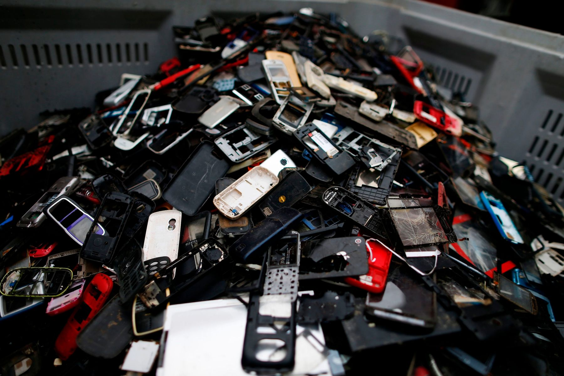 This photo taken on May 3, 2017 at Morphosis plant in Le Havre, northwestern France, shows a pile of discarded electrical and electronic components. Morphosis extracts and refines rare and precious metals from electrical and electronic devices in Europe.  / AFP PHOTO / CHARLY TRIBALLEAU        (Photo credit should read CHARLY TRIBALLEAU/AFP/Getty Images)