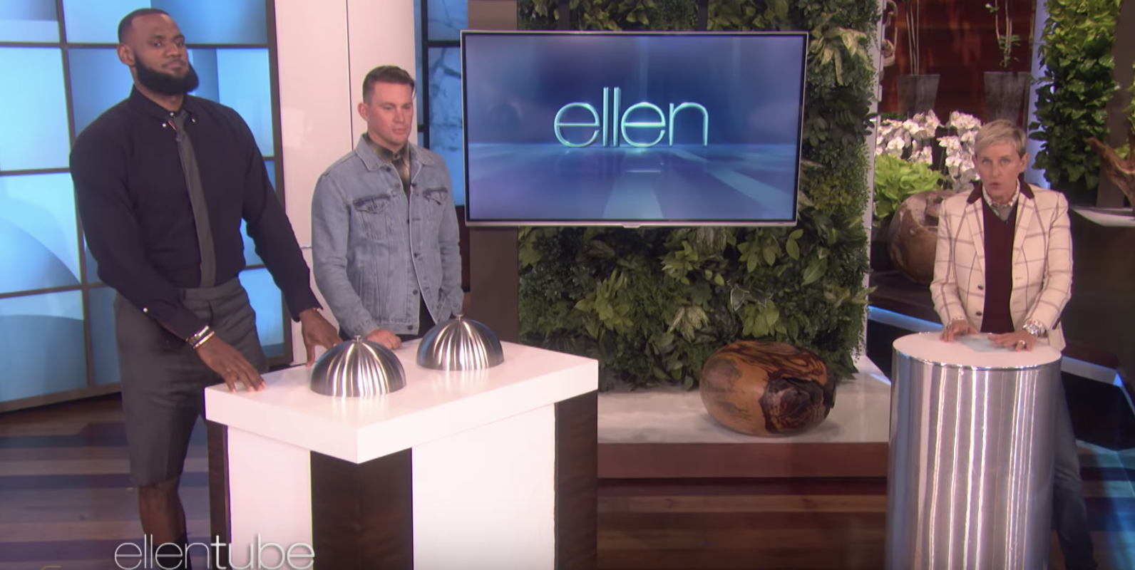 "LeBron James and Channing Tatum appear on ""Ellen."" (EllenTube/YouTube)"