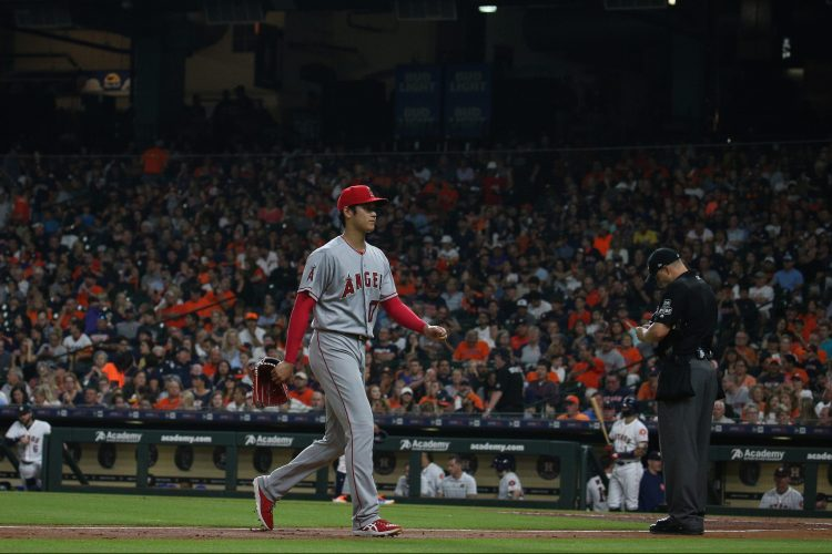 Shohei Ohtani of the Los Angeles Angels leaves the game against the Houston Astros at Minute Maid Park on Sunday, September 2, 2018 in Houston, Texas.  (Loren Elliott/MLB Photos via Getty Images)