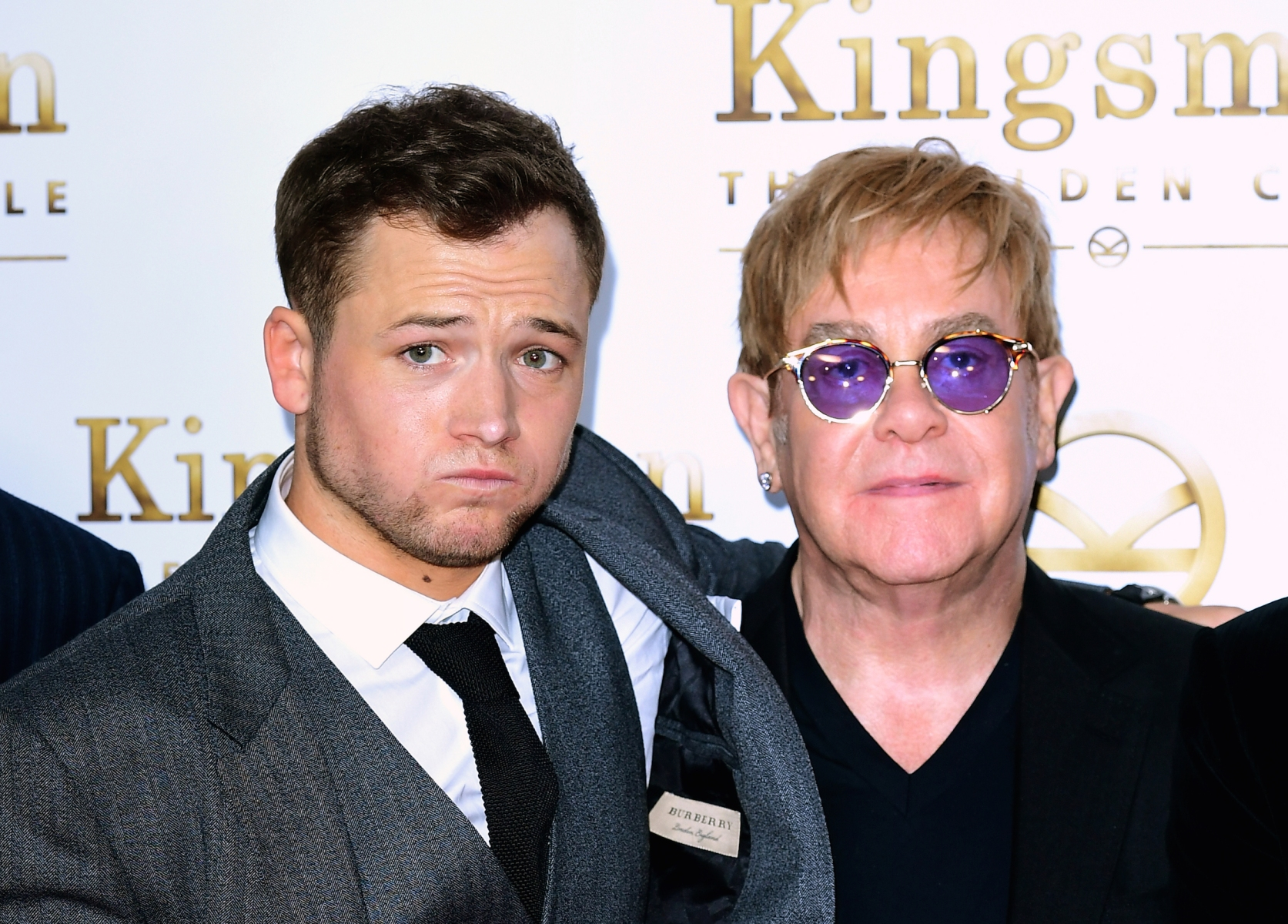 """Taron Egerton and Elton John attending the World Premiere of Kingsman: The Golden Circle, at Cineworld in Leicester Square, London. Egerton will play Elton John in the biopic """"Rocketman."""" (Photo by Ian West/PA Wire)"""