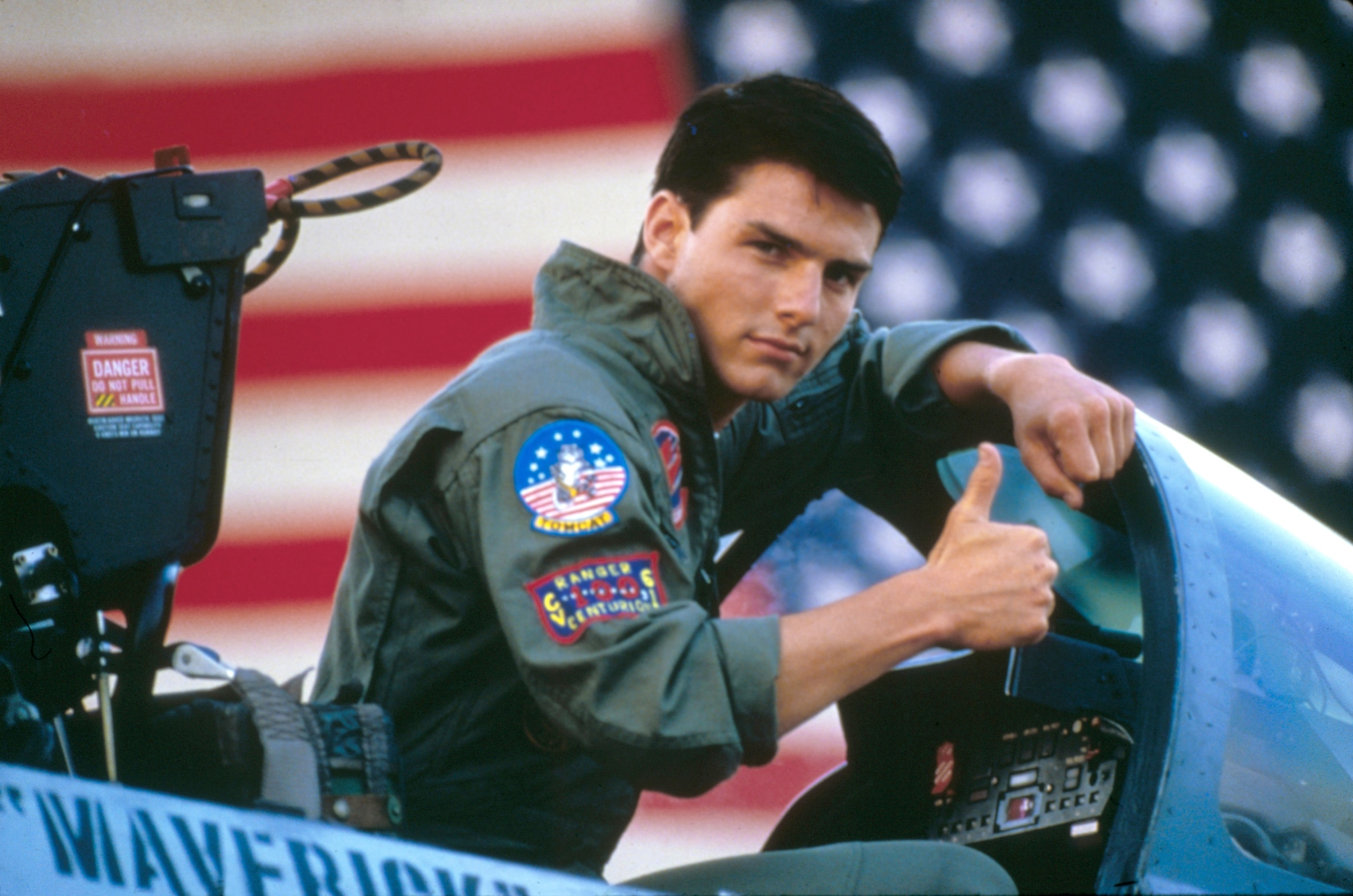 """Tom Cruise on the set of Top Gun, directed by Tony Scott. Photos from the set of the upcoming sequel """"Top Gun: Maverick"""" were recently posted to Instagram. (Photo by Paramount Pictures/Sunset Boulevard/Corbis via Getty Images)"""