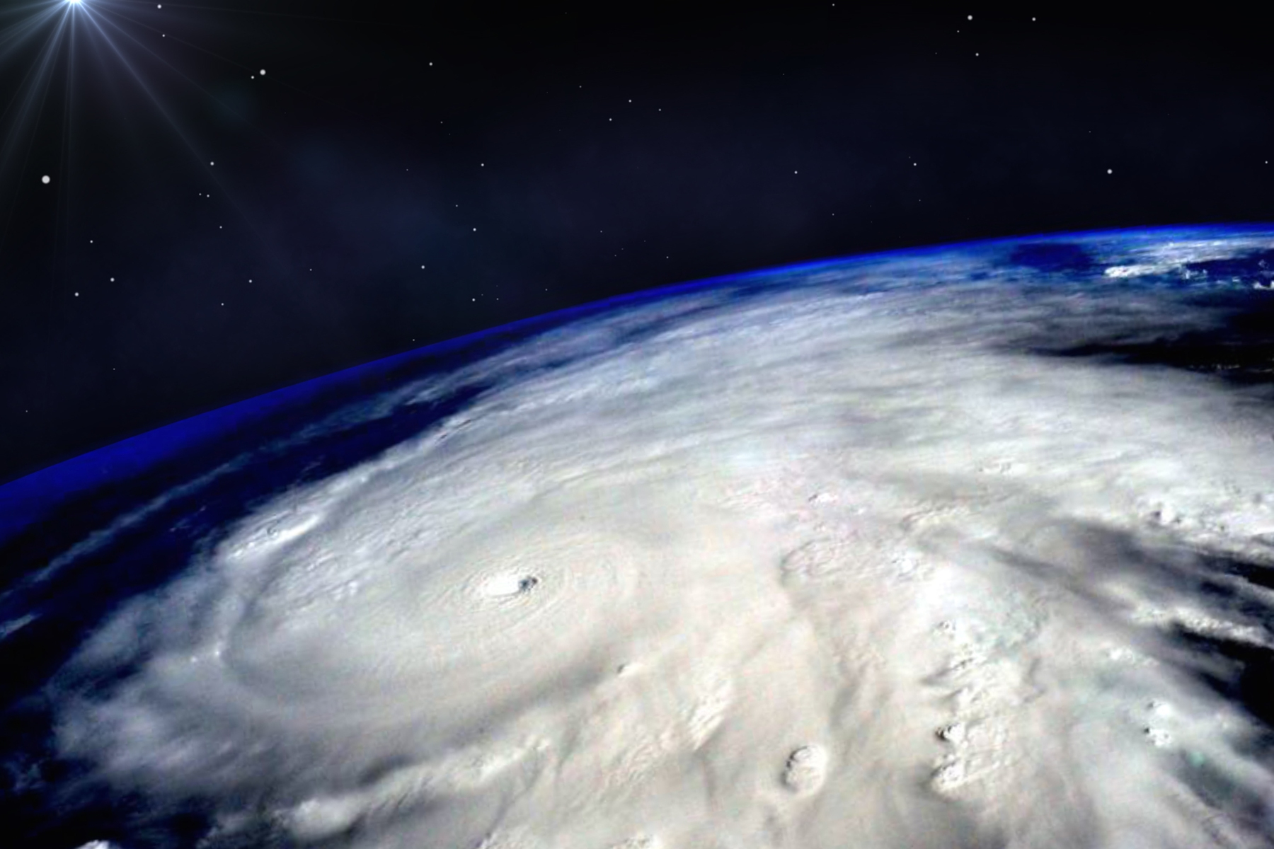 Hurricane typhoon over planet Earth viewed from space. Elements of image are furnished by NASA. Photographs of Typhoon Trami were recently captured from the International Space Station. (Photo by Elen11/iStock/Getty Images)