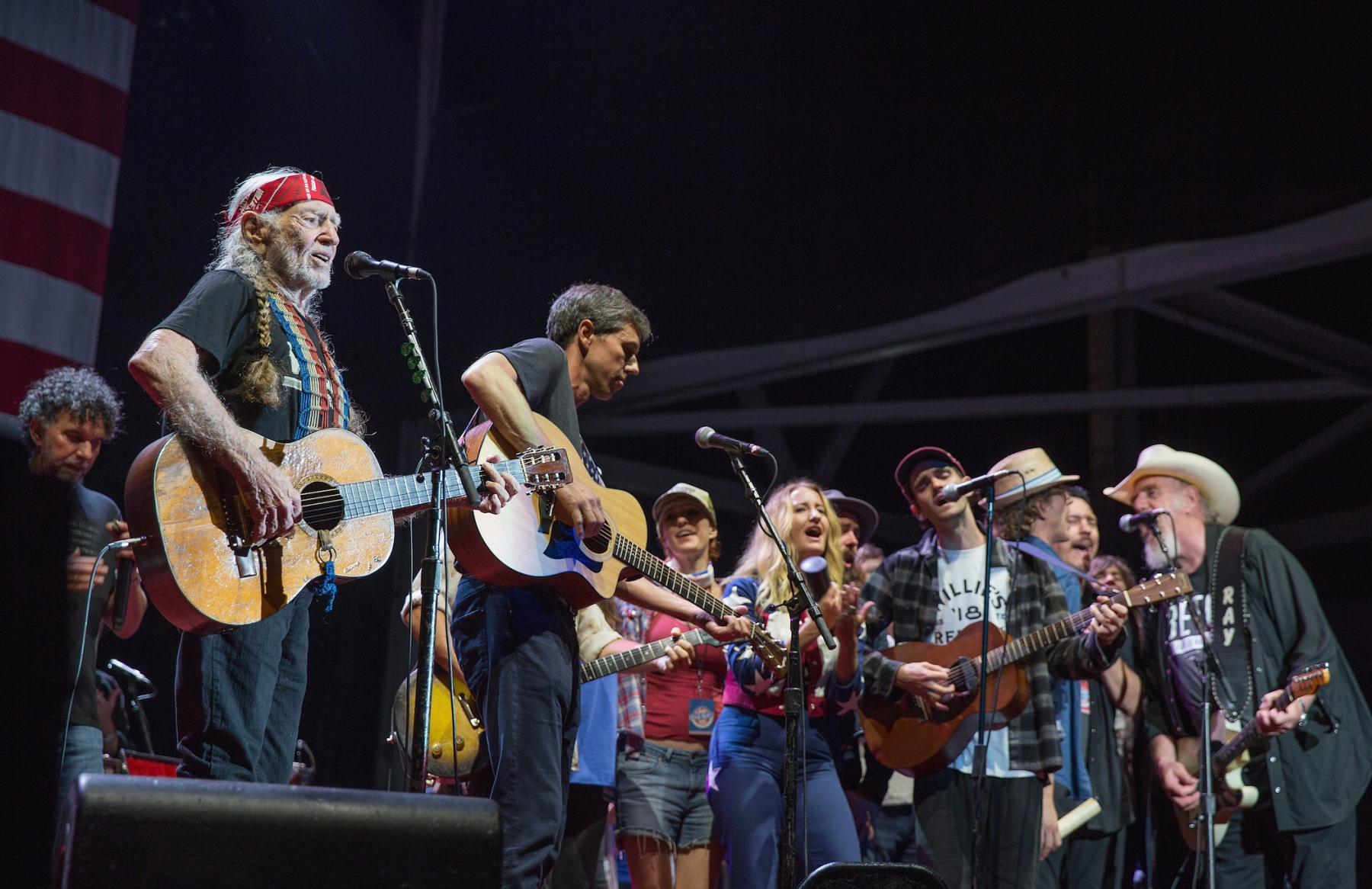 (L-R) Mickey Raphael, Willie Nelson, Beto O'Rourke, Casey Kristofferson, Margo Price, Micah Nelson, and Ray Benson perform onstage with Willie Nelson and Family during the 45th Annual Willie Nelson 4th of July Picnic at Austin360 Amphitheater on July 4, 2018 in Austin, Texas.  (Photo by Rick Kern/WireImage)
