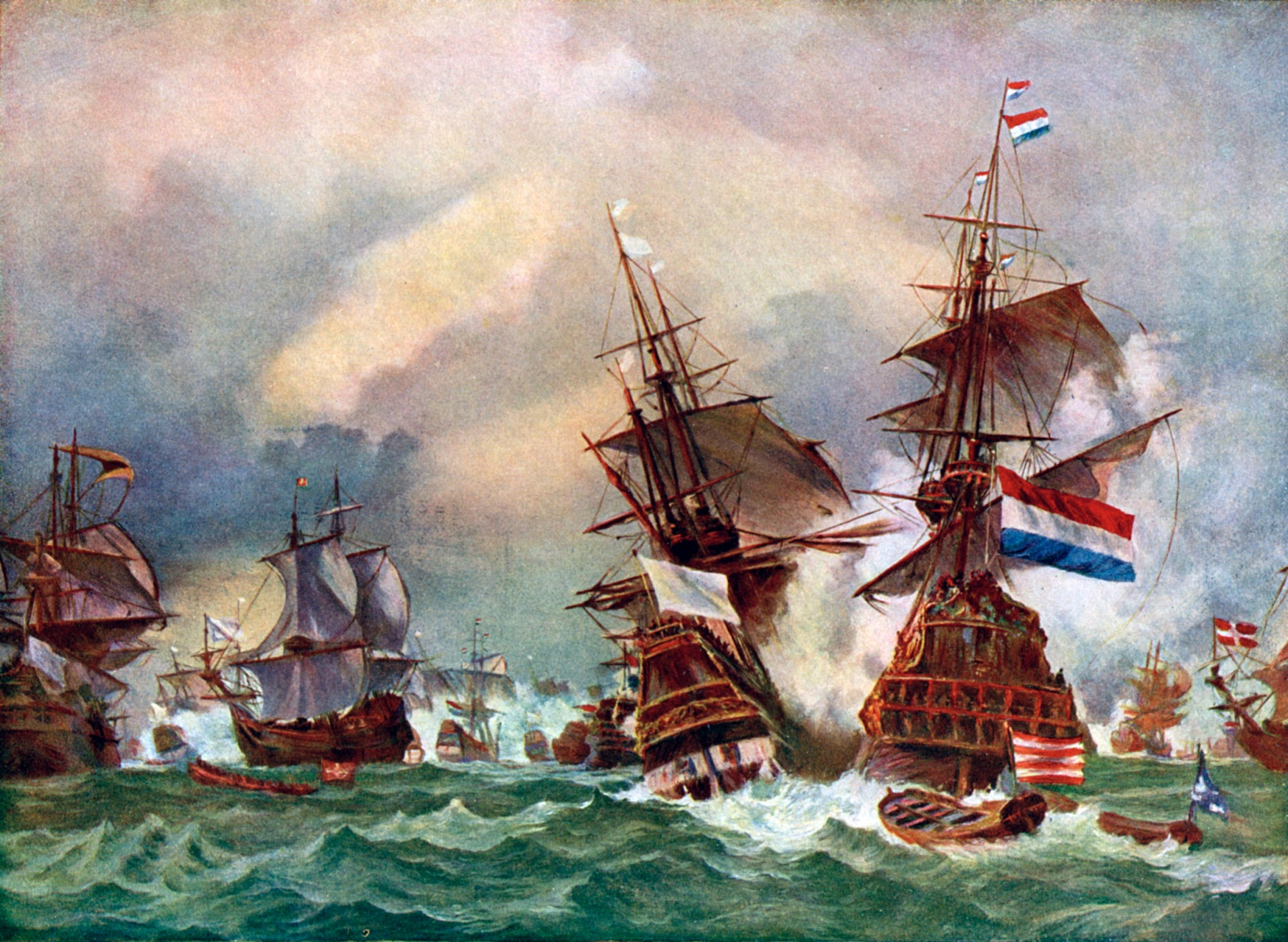 """The Battle of Texel, 1673 (c1920). In 1653, the Dutch admiral Maarten Tromp was killed in a battle with the English navy off the coast of Texel, Holland. Illustration from Story of the British Nation, volume III, by Walter Hutchinson (London, c1920s). The term """"going Dutch"""" has its origins in contentious 17th Century British-Dutch relations. (Photo by The Print Collector/Print Collector/Getty Images)"""