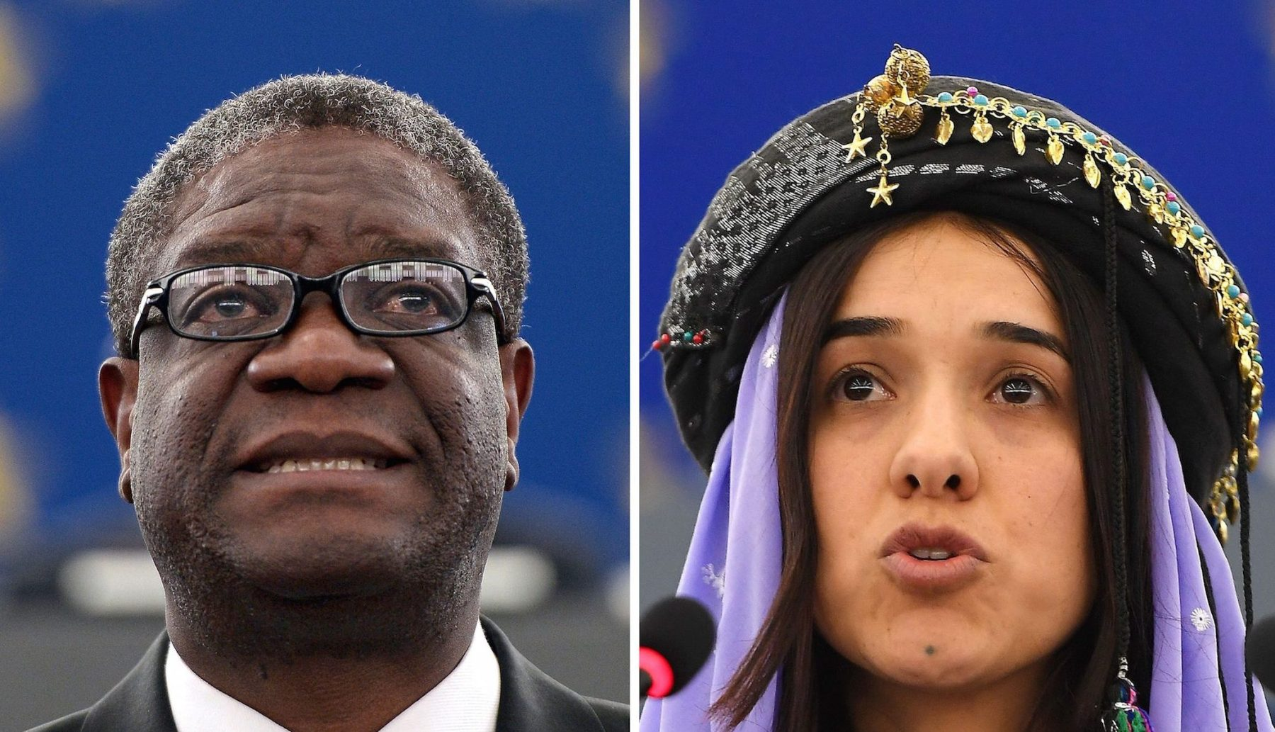 This combination created on October 5, 2018 of file pictures shows Congolese gynaecologist Denis Mukwege (L, on November 26, 2014 at the European Parliament in Strasbourg) and Nadia Murad, public advocate for the Yazidi community in Iraq and survivor of sexual enslavement by the Islamic State jihadists (on December 13, 2016 at the European parliament in Strasbourg). Congolese doctor Denis Mukwege and Yazidi campaigner Nadia Murad won the 2018 Nobel Peace Prize on October 5, 2018 for their work in fighting sexual violence in conflicts around the world.  (Photo by FREDERICK FLORIN/AFP/Getty Images)