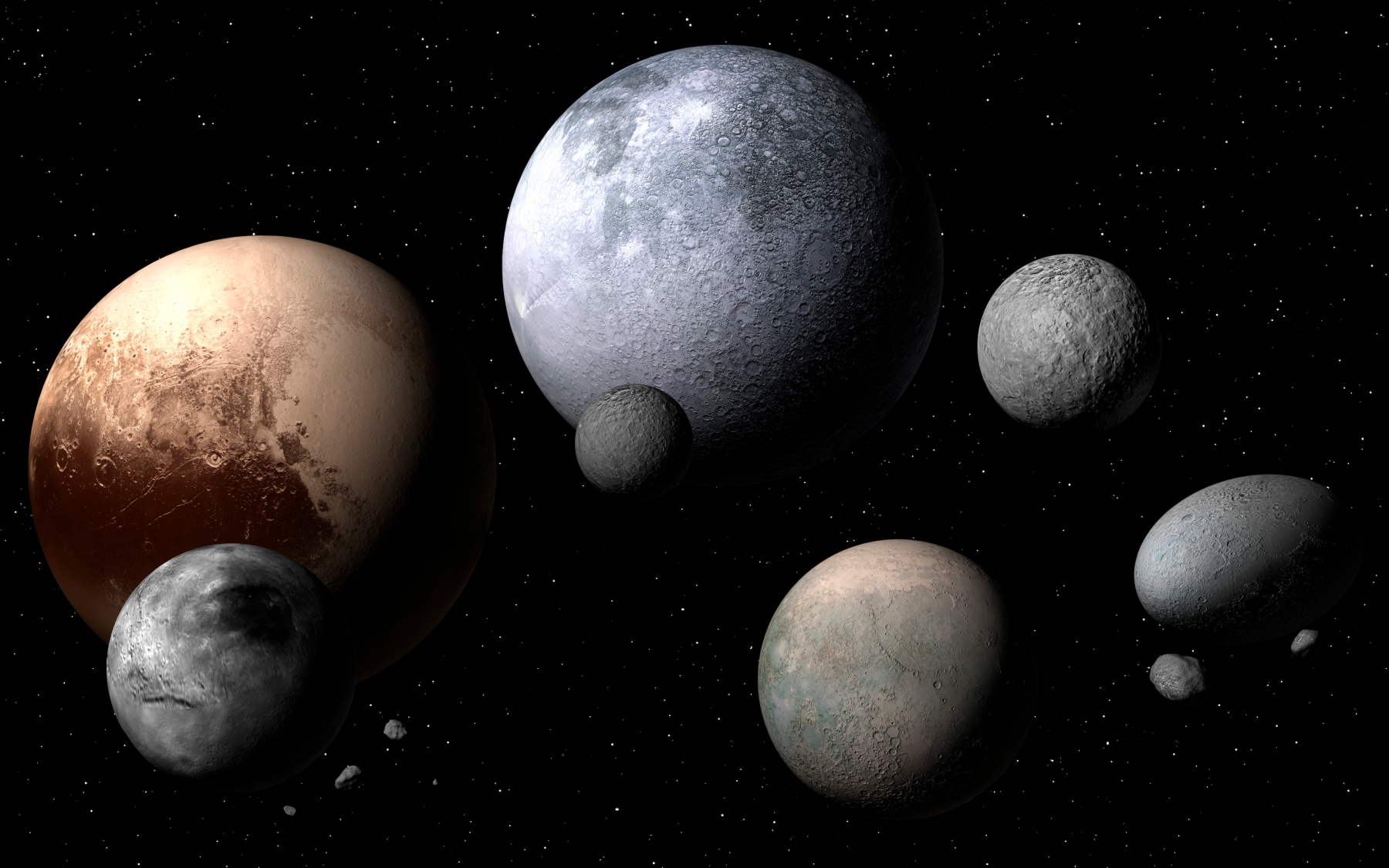 """Dwarf planets and moons, illustration. A dwarf planet is a planetary mass object orbiting the Sun that is not a true planet. The discovery of a new dwarf planet, nicknamed """"the Goblin"""" was recently announced. (Photo by MARK GARLICK/SCIENCE PHOTO LIBRARY/Getty Images)"""