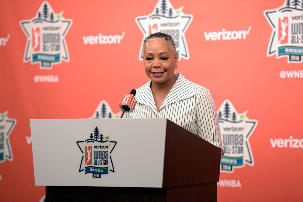 MINNEAPOLIS, MN - JULY 28:  Lisa Borders speaks to the media prior to the Verizon WNBA All-Star Game on July 28, 2018 at the Target Center in Minneapolis, Minnesota. (Photo by Steel Brooks/NBAE via Getty Images)