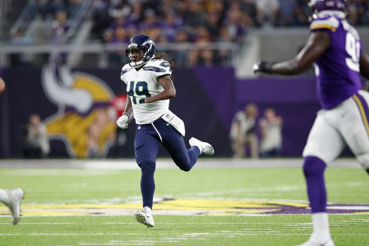 MINNEAPOLIS, MN - AUGUST 24: Shaquem Griffin #49 of the Seattle Seahawks in action during a preseason game against the Minnesota Vikings at U.S. Bank Stadium on August 24, 2018 in Minneapolis, Minnesota. (Photo by Joe Robbins/Getty Images)