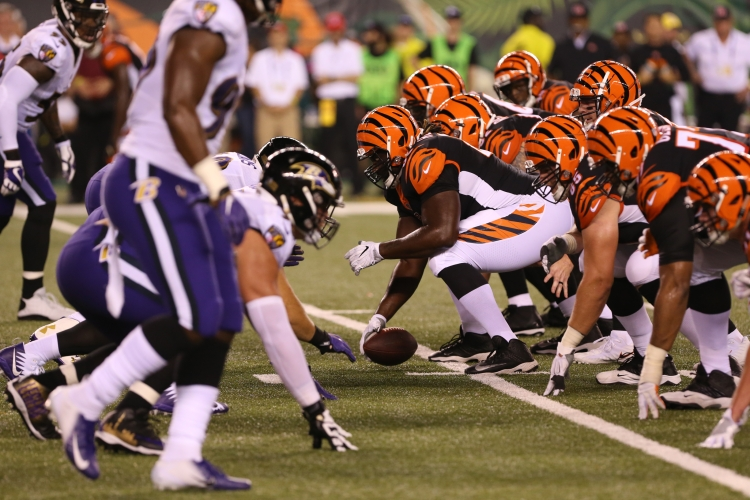 CINCINNATI, OH - SEPTEMBER 13: Cincinnati Bengals get ready for the play during the game against the Baltimore Ravens and the Cincinnati Bengals on September 13th 2018, at Paul Brown in Cincinnati, OH. (Photo by Ian Johnson/Icon Sportswire via Getty Images)